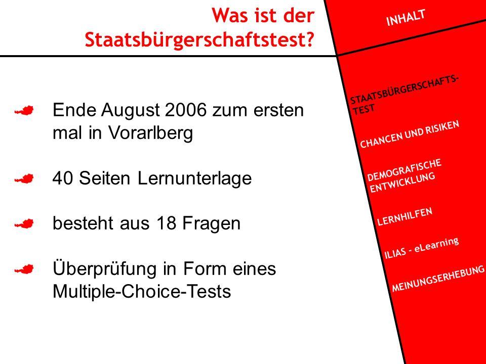 Ende August 2006 zum ersten mal in Vorarlberg 40 Seiten Lernunterlage besteht aus 18 Fragen Überprüfung in Form eines Multiple-Choice-Tests Was ist der Staatsbürgerschaftstest.