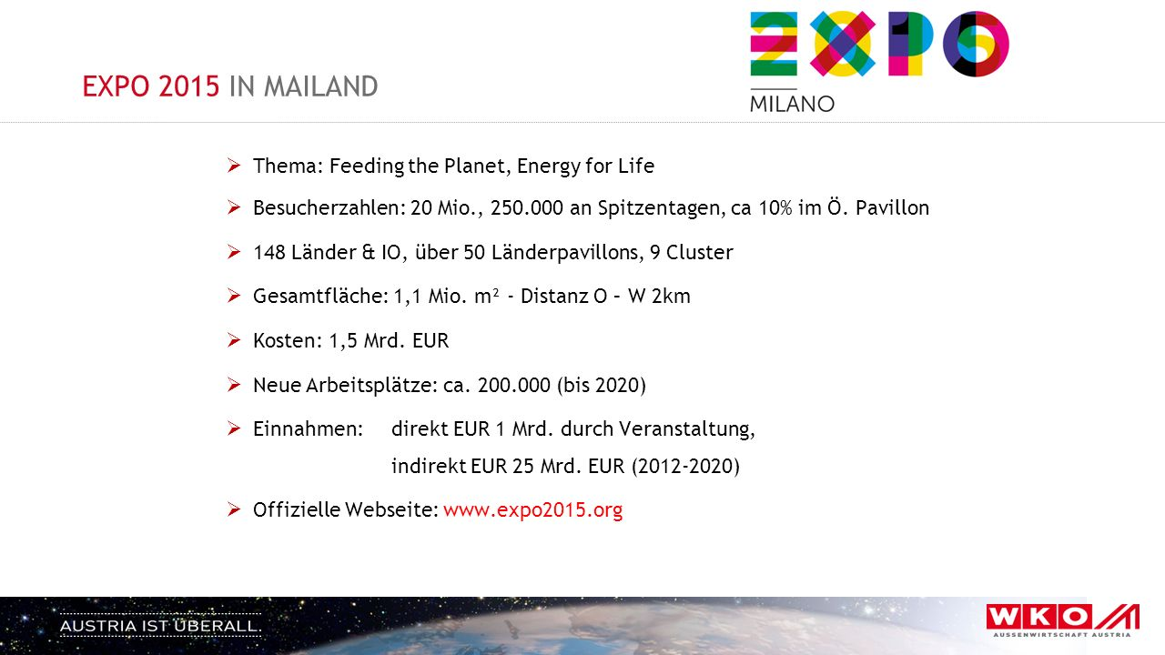 EXPO 2015 IN MAILAND  Thema: Feeding the Planet, Energy for Life  Besucherzahlen: 20 Mio., 250.000 an Spitzentagen, ca 10% im Ö.