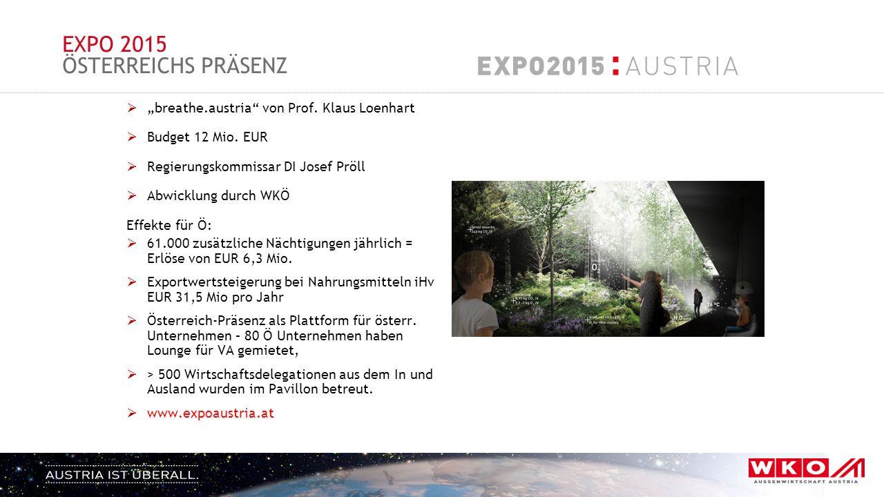 """EXPO 2015 ÖSTERREICHS PRÄSENZ  """"breathe.austria"""" von Prof. Klaus Loenhart  Budget 12 Mio. EUR  Regierungskommissar DI Josef Pröll  Abwicklung durc"""