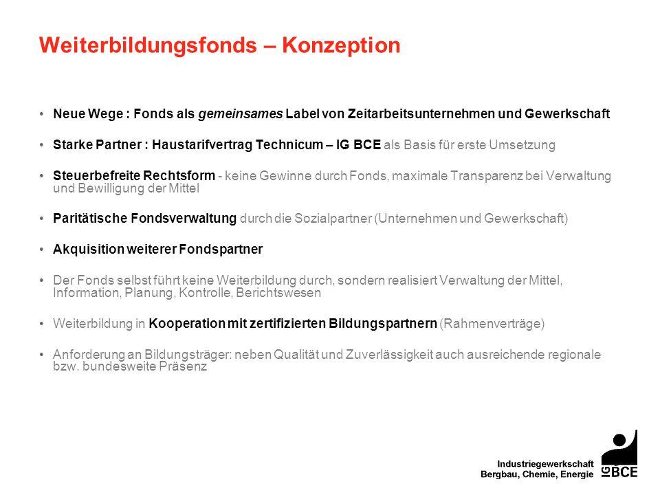 3 Weiterbildungsfonds – Konzeption Neue Wege : Fonds als gemeinsames Label von Zeitarbeitsunternehmen und Gewerkschaft Starke Partner : Haustarifvertr