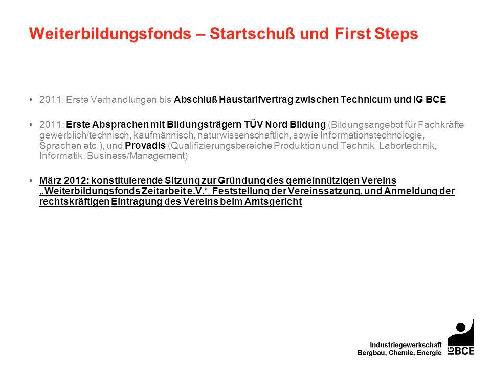 Weiterbildungsfonds – Startschuß und First Steps 2011: Erste Verhandlungen bis Abschluß Haustarifvertrag zwischen Technicum und IG BCE 2011: Erste Abs
