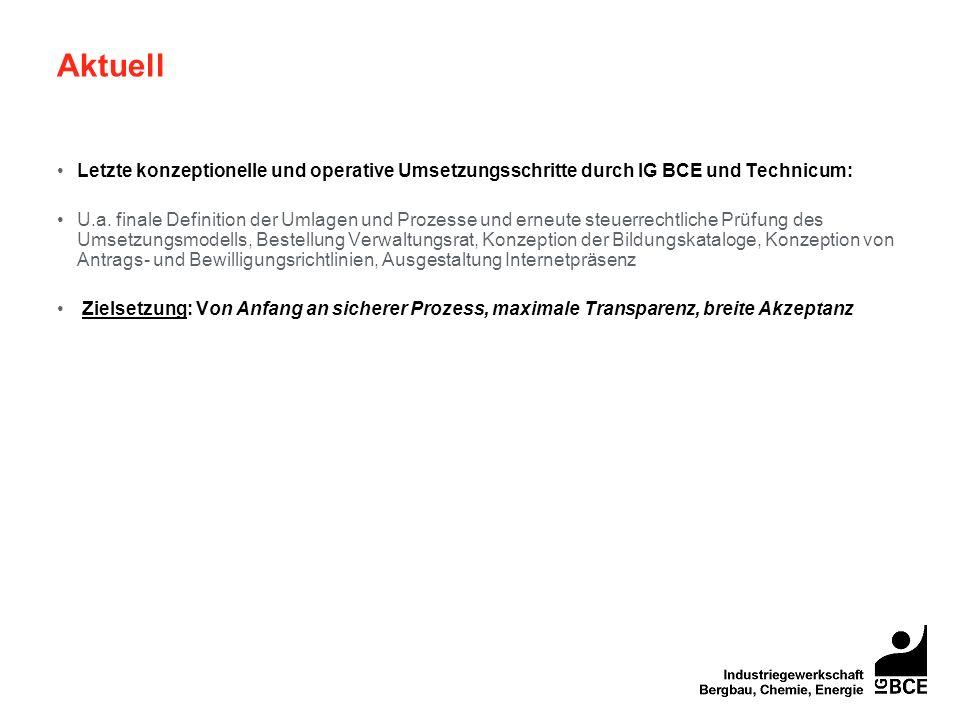 Aktuell Letzte konzeptionelle und operative Umsetzungsschritte durch IG BCE und Technicum: U.a. finale Definition der Umlagen und Prozesse und erneute