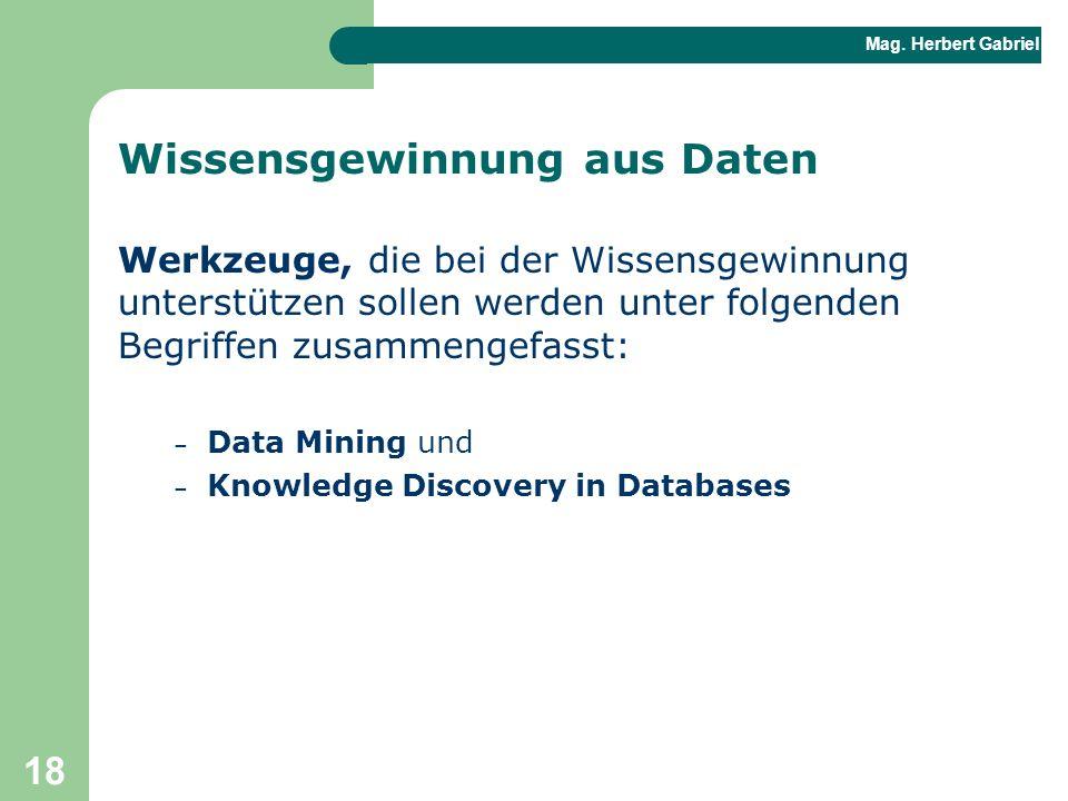 Mag. Herbert Gabriel BHAK 18 Wissensgewinnung aus Daten Werkzeuge, die bei der Wissensgewinnung unterstützen sollen werden unter folgenden Begriffen z