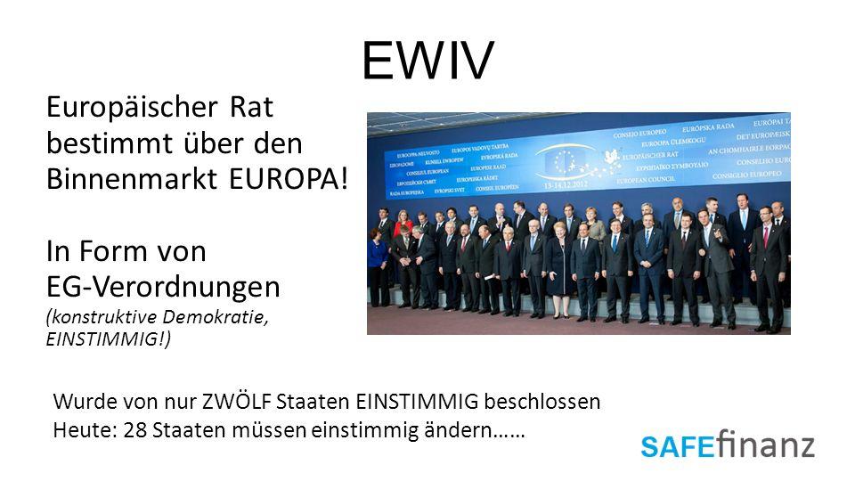 EWIV Europäischer Rat bestimmt über den Binnenmarkt EUROPA! In Form von EG-Verordnungen (konstruktive Demokratie, EINSTIMMIG!) Wurde von nur ZWÖLF Sta