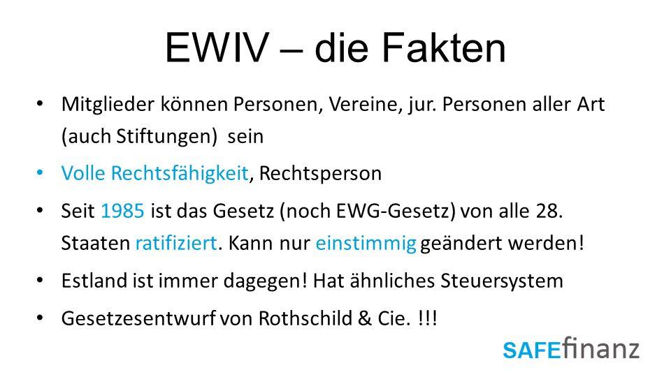 EWIV – die Fakten Mitglieder können Personen, Vereine, jur. Personen aller Art (auch Stiftungen) sein Volle Rechtsfähigkeit, Rechtsperson Seit 1985 is