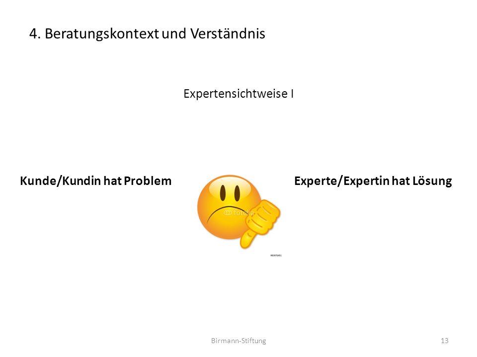 Birmann-Stiftung Expertensichtweise I Kunde/Kundin hat Problem Experte/Expertin hat Lösung 13 4. Beratungskontext und Verständnis