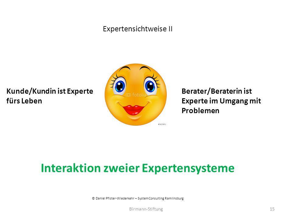Birmann-Stiftung Expertensichtweise II Kunde/Kundin ist Experte Berater/Beraterin ist fürs LebenExperte im Umgang mit Problemen Interaktion zweier Exp