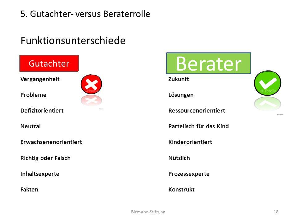 Birmann-Stiftung 5. Gutachter- versus Beraterrolle Funktionsunterschiede VergangenheitZukunft ProblemeLösungen DefizitorientiertRessourcenorientiert N