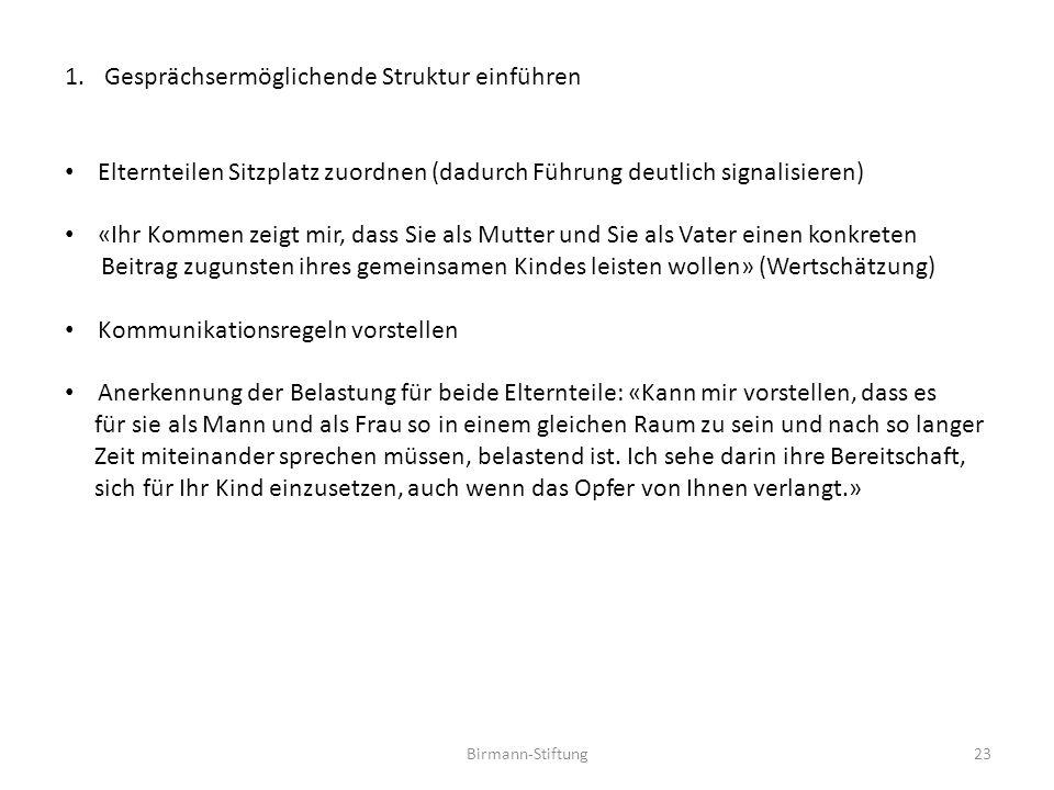 Birmann-Stiftung23 1.Gesprächsermöglichende Struktur einführen Elternteilen Sitzplatz zuordnen (dadurch Führung deutlich signalisieren) «Ihr Kommen ze