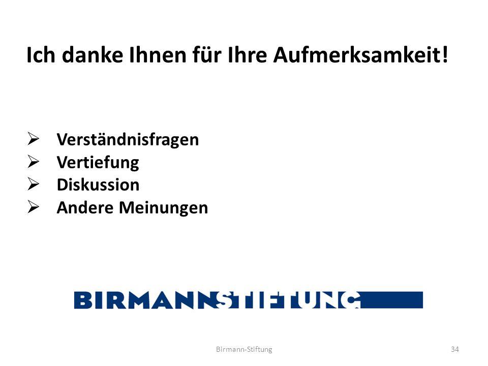 Birmann-Stiftung34 Ich danke Ihnen für Ihre Aufmerksamkeit!  Verständnisfragen  Vertiefung  Diskussion  Andere Meinungen