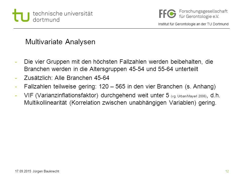 Institut für Gerontologie an der TU Dortmund 12 Multivariate Analysen -Die vier Gruppen mit den höchsten Fallzahlen werden beibehalten, die Branchen werden in die Altersgruppen 45-54 und 55-64 unterteilt -Zusätzlich: Alle Branchen 45-64 -Fallzahlen teilweise gering: 120 – 565 in den vier Branchen (s.