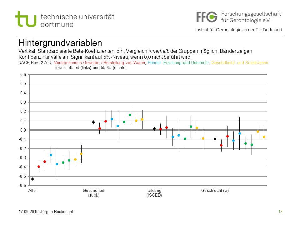 Institut für Gerontologie an der TU Dortmund 13 Hintergrundvariablen Vertikal: Standardisierte Beta-Koeffizienten, d.h.