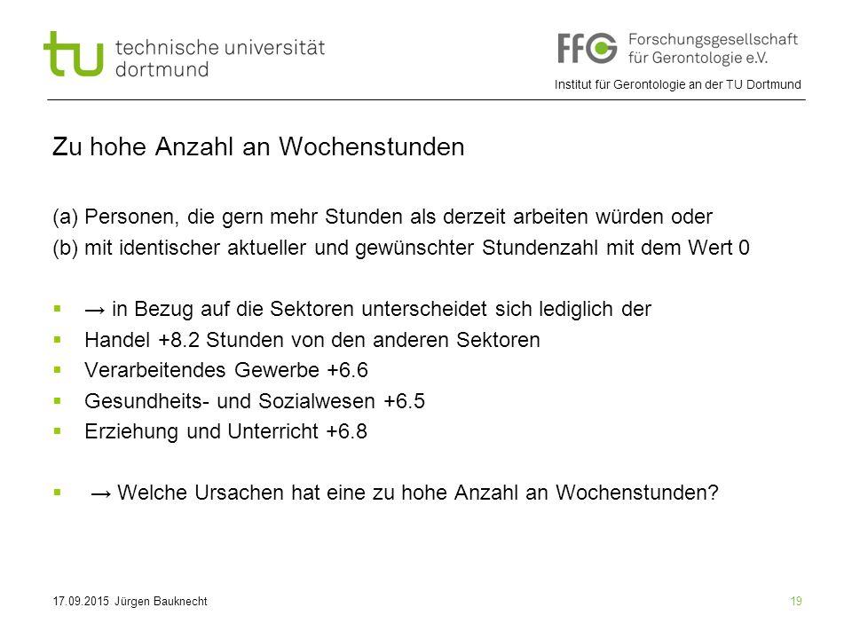 Institut für Gerontologie an der TU Dortmund 19 Zu hohe Anzahl an Wochenstunden (a) Personen, die gern mehr Stunden als derzeit arbeiten würden oder (b) mit identischer aktueller und gewünschter Stundenzahl mit dem Wert 0  → in Bezug auf die Sektoren unterscheidet sich lediglich der  Handel +8.2 Stunden von den anderen Sektoren  Verarbeitendes Gewerbe +6.6  Gesundheits- und Sozialwesen +6.5  Erziehung und Unterricht +6.8  → Welche Ursachen hat eine zu hohe Anzahl an Wochenstunden.