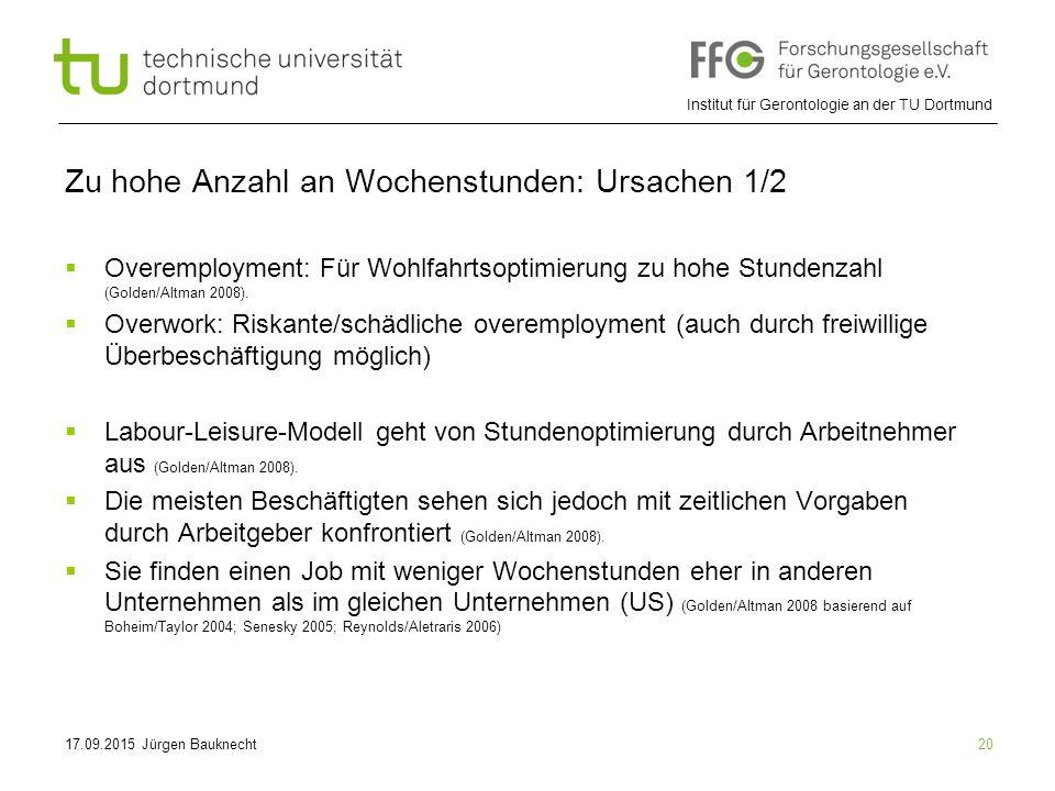 Institut für Gerontologie an der TU Dortmund 20 Zu hohe Anzahl an Wochenstunden: Ursachen 1/2  Overemployment: Für Wohlfahrtsoptimierung zu hohe Stundenzahl (Golden/Altman 2008).