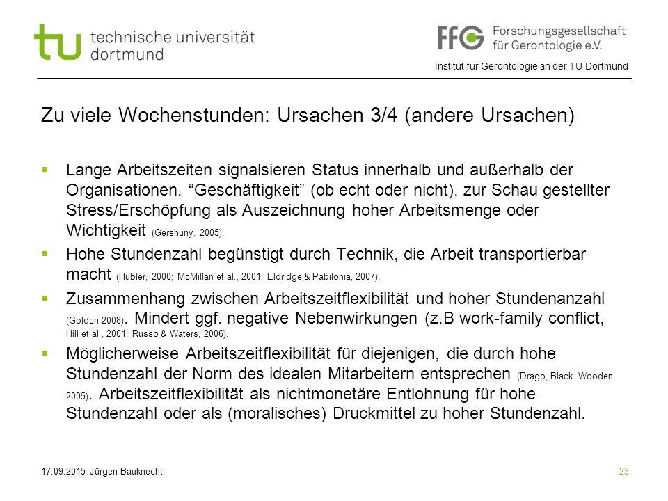 Institut für Gerontologie an der TU Dortmund 23 Zu viele Wochenstunden: Ursachen 3/4 (andere Ursachen)  Lange Arbeitszeiten signalsieren Status innerhalb und außerhalb der Organisationen.