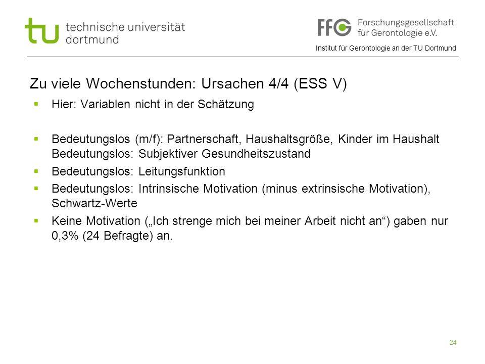 """Institut für Gerontologie an der TU Dortmund 24 Zu viele Wochenstunden: Ursachen 4/4 (ESS V)  Hier: Variablen nicht in der Schätzung  Bedeutungslos (m/f): Partnerschaft, Haushaltsgröße, Kinder im Haushalt Bedeutungslos: Subjektiver Gesundheitszustand  Bedeutungslos: Leitungsfunktion  Bedeutungslos: Intrinsische Motivation (minus extrinsische Motivation), Schwartz-Werte  Keine Motivation (""""Ich strenge mich bei meiner Arbeit nicht an ) gaben nur 0,3% (24 Befragte) an."""