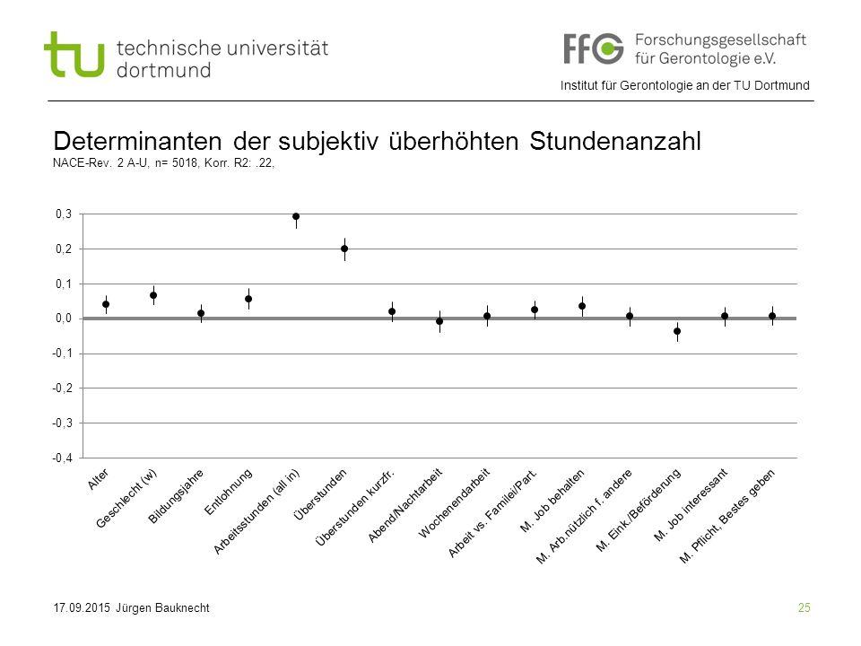 Institut für Gerontologie an der TU Dortmund 25 Determinanten der subjektiv überhöhten Stundenanzahl NACE-Rev.