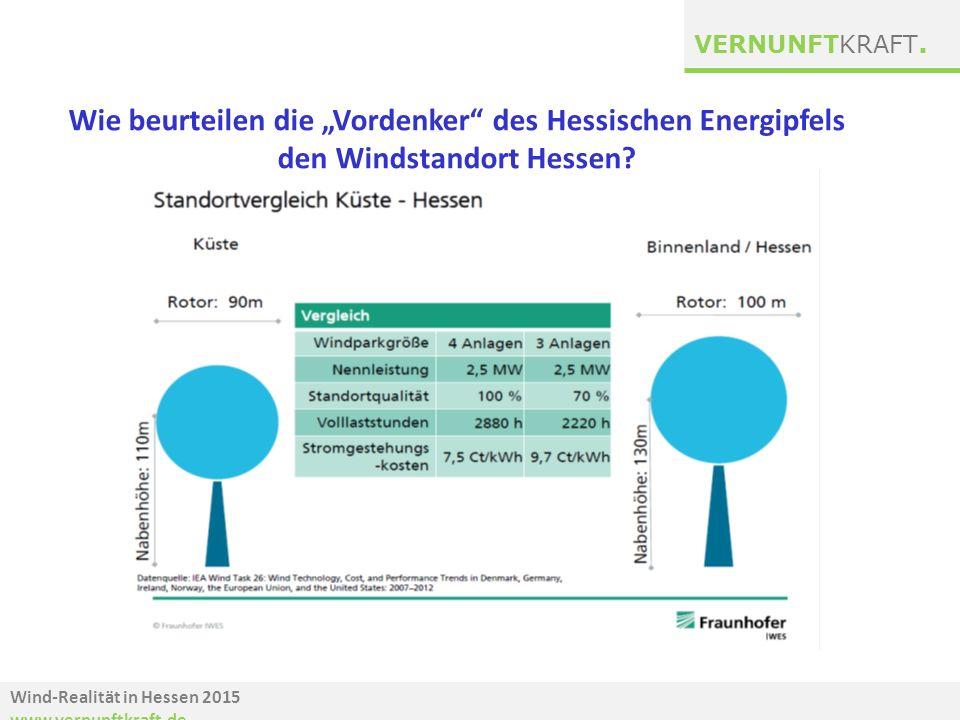 """Wind-Realität in Hessen 2015 www.vernunftkraft.de VERNUNFTKRAFT. Wie beurteilen die """"Vordenker"""" des Hessischen Energipfels den Windstandort Hessen?"""
