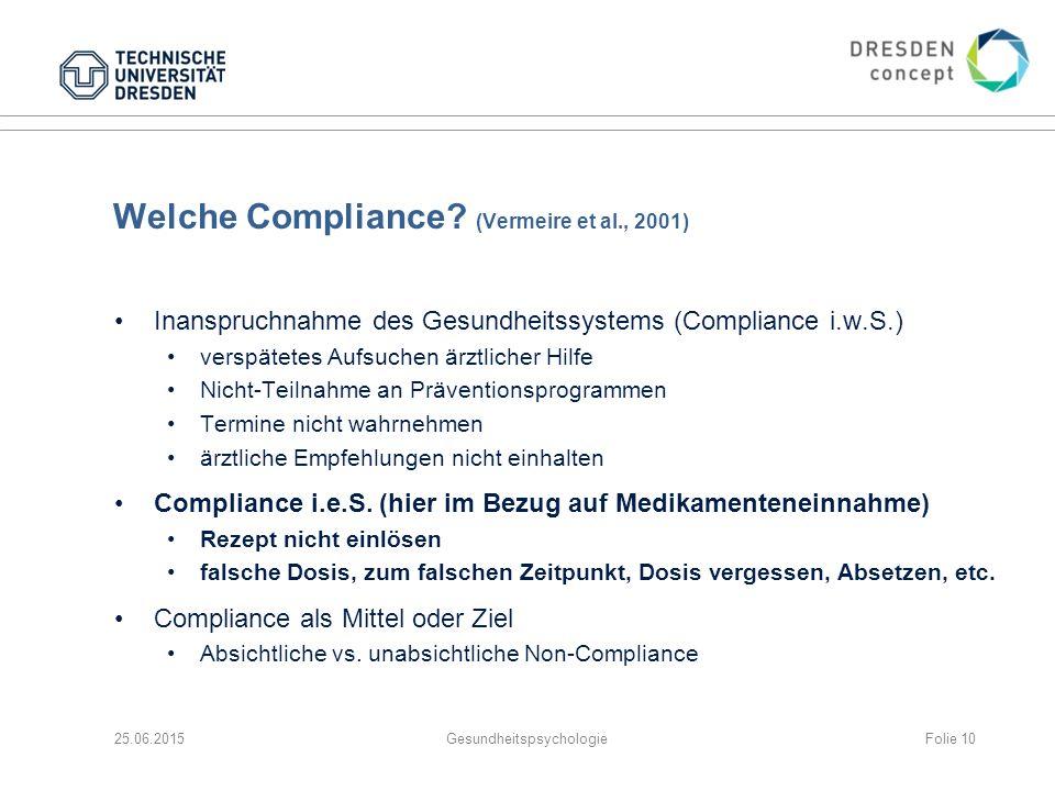 Welche Compliance? (Vermeire et al., 2001) Inanspruchnahme des Gesundheitssystems (Compliance i.w.S.) verspätetes Aufsuchen ärztlicher Hilfe Nicht-Tei