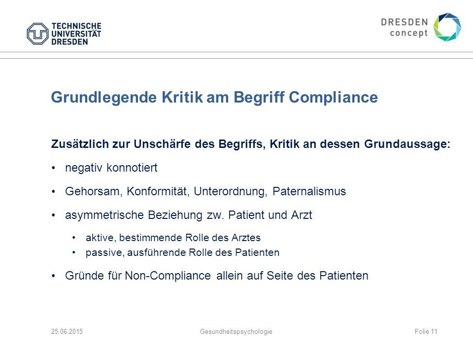 Grundlegende Kritik am Begriff Compliance Zusätzlich zur Unschärfe des Begriffs, Kritik an dessen Grundaussage: negativ konnotiert Gehorsam, Konformit