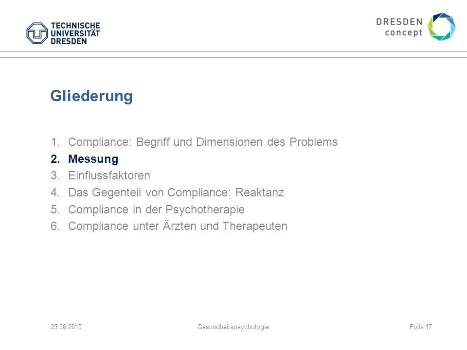 Gliederung 1.Compliance: Begriff und Dimensionen des Problems 2.Messung 3.Einflussfaktoren 4.Das Gegenteil von Compliance: Reaktanz 5.Compliance in de