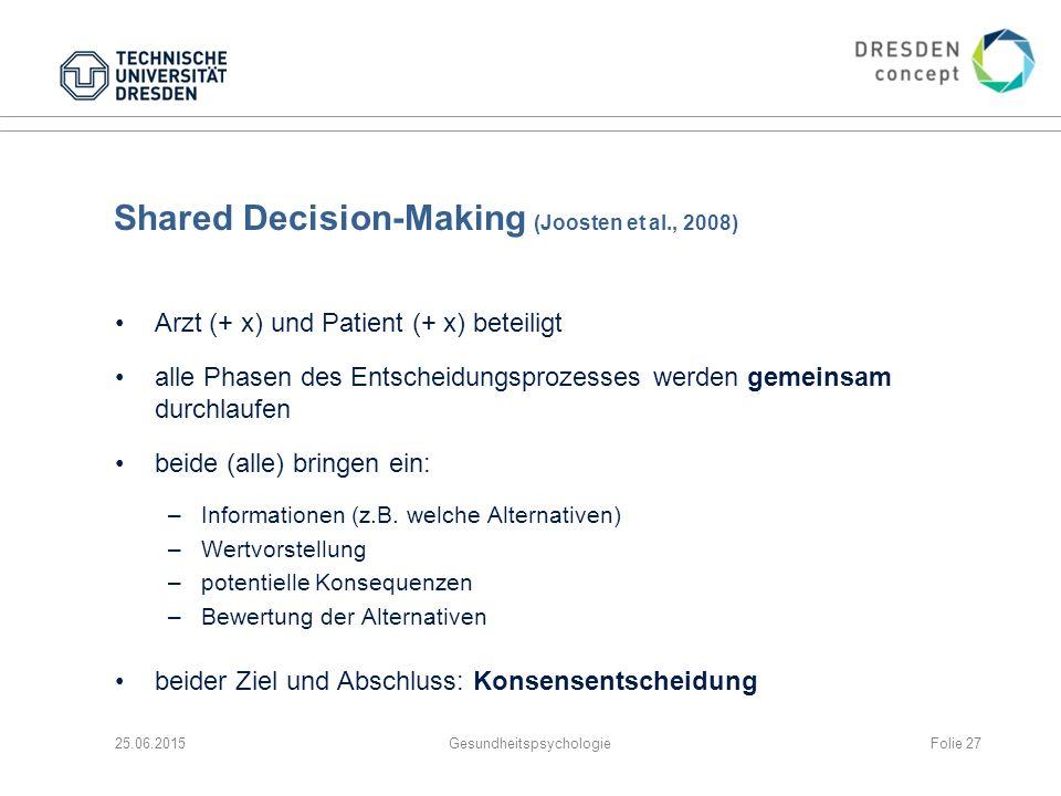 Shared Decision-Making (Joosten et al., 2008) Arzt (+ x) und Patient (+ x) beteiligt alle Phasen des Entscheidungsprozesses werden gemeinsam durchlauf