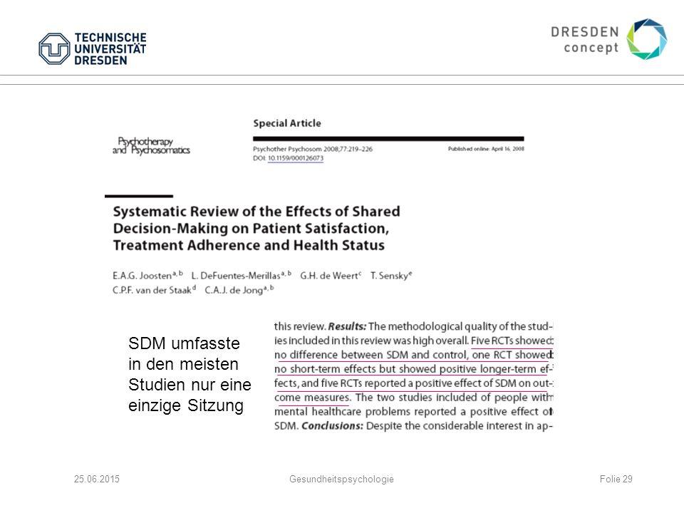 25.06.2015GesundheitspsychologieFolie 29 SDM umfasste in den meisten Studien nur eine einzige Sitzung
