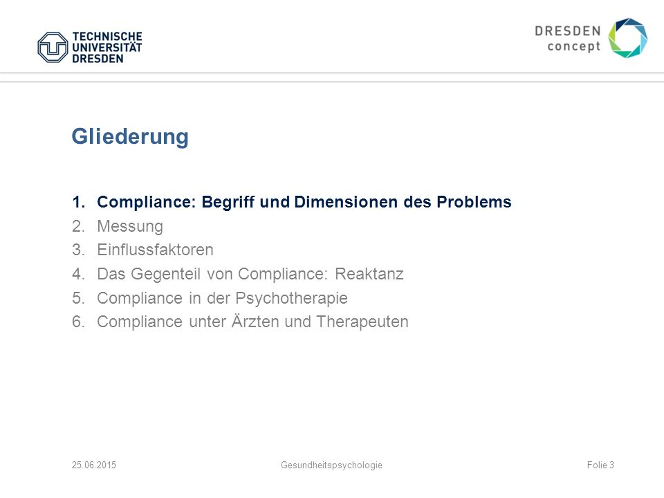 3.Patient: Determinanten des Gesundheitsverhaltens Compliance wird auf Patientenseite bestimmt durch (Krankheits-) Wissen, Überzeugungen und Einstellungen: Ich habe eine Erkrankung und/oder bin einem erhöhten Risiko ausgesetzt.