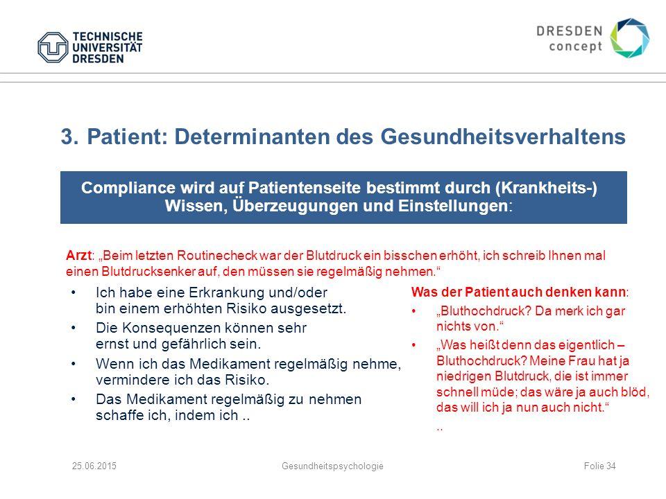 3.Patient: Determinanten des Gesundheitsverhaltens Compliance wird auf Patientenseite bestimmt durch (Krankheits-) Wissen, Überzeugungen und Einstellu
