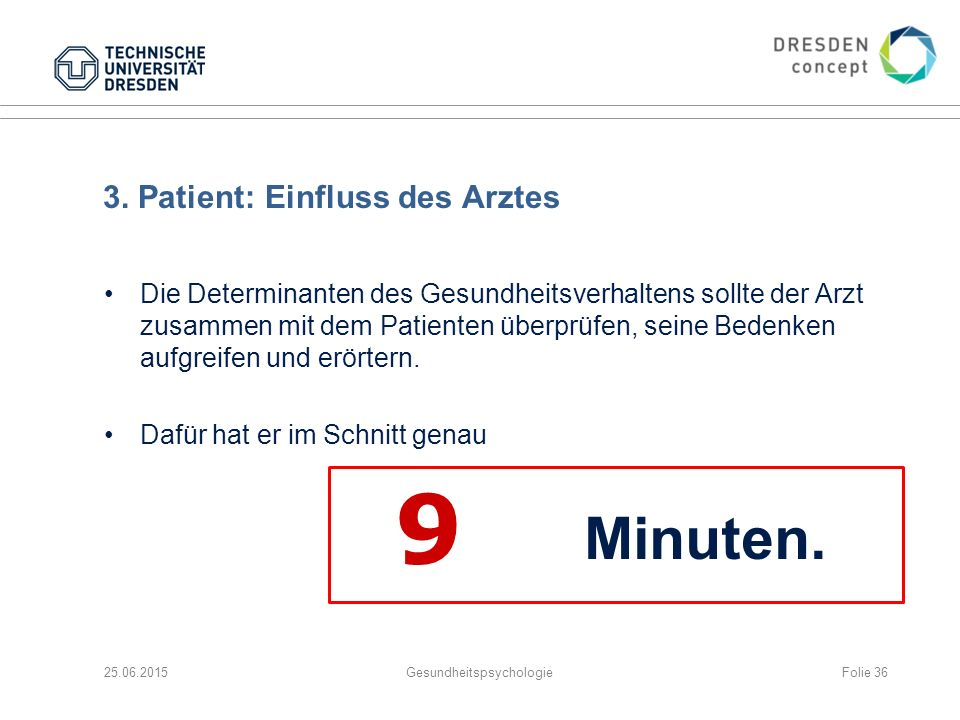 3. Patient: Einfluss des Arztes Die Determinanten des Gesundheitsverhaltens sollte der Arzt zusammen mit dem Patienten überprüfen, seine Bedenken aufg