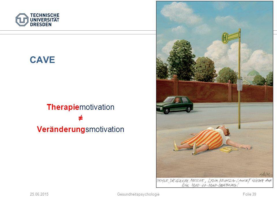 25.06.2015GesundheitspsychologieFolie 39 CAVE Therapiemotivation ≠ Veränderungsmotivation