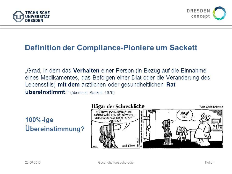 """Definition der Compliance-Pioniere um Sackett """"Grad, in dem das Verhalten einer Person (in Bezug auf die Einnahme eines Medikamentes, das Befolgen ein"""