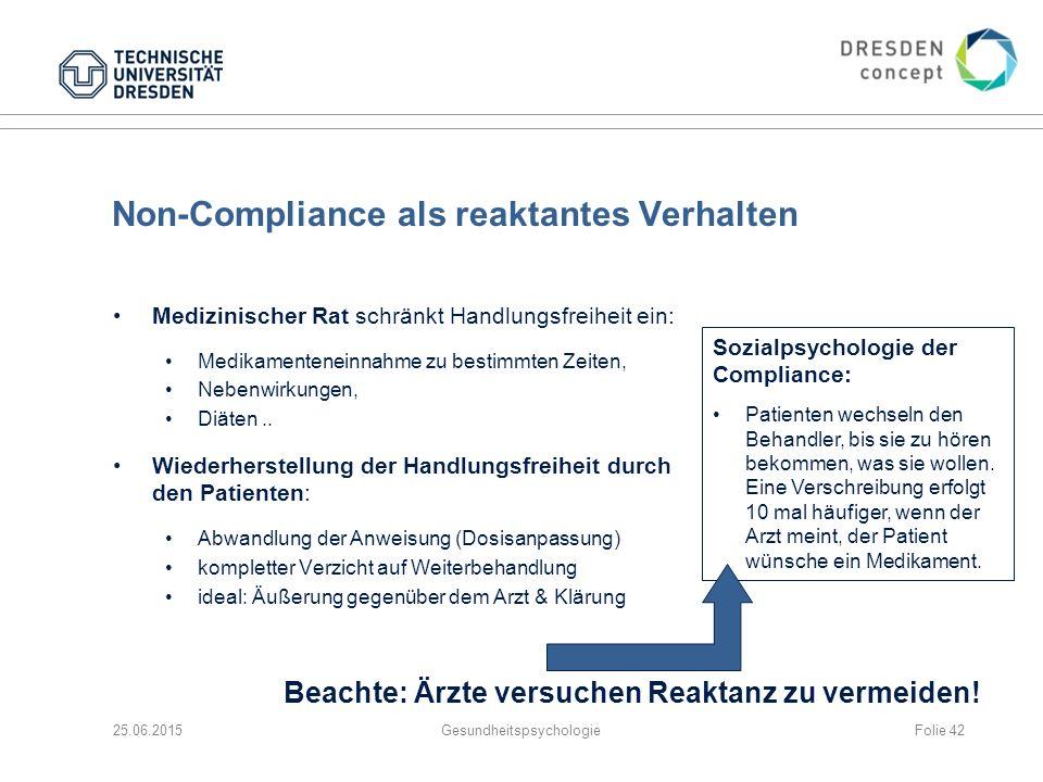 Non-Compliance als reaktantes Verhalten Medizinischer Rat schränkt Handlungsfreiheit ein: Medikamenteneinnahme zu bestimmten Zeiten, Nebenwirkungen, D