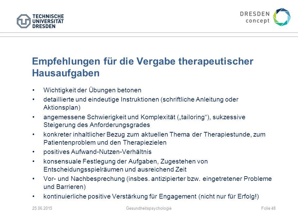 Empfehlungen für die Vergabe therapeutischer Hausaufgaben Wichtigkeit der Übungen betonen detaillierte und eindeutige Instruktionen (schriftliche Anle