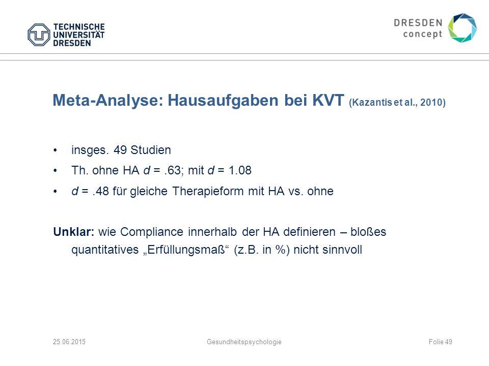 Meta-Analyse: Hausaufgaben bei KVT (Kazantis et al., 2010) insges. 49 Studien Th. ohne HA d =.63; mit d = 1.08 d =.48 für gleiche Therapieform mit HA