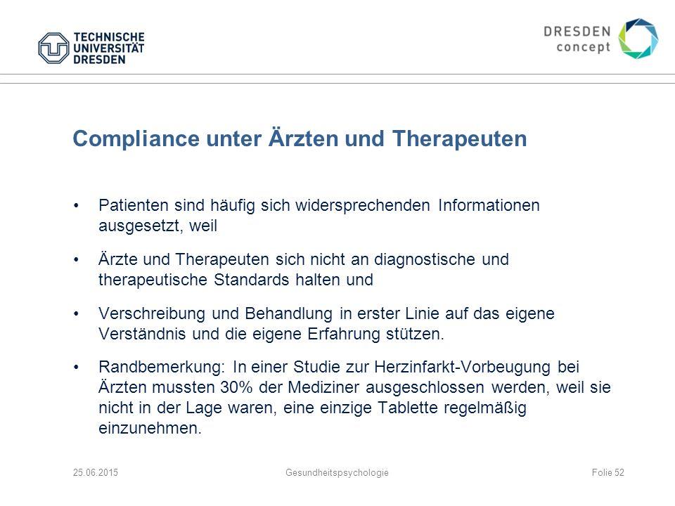 Compliance unter Ärzten und Therapeuten Patienten sind häufig sich widersprechenden Informationen ausgesetzt, weil Ärzte und Therapeuten sich nicht an