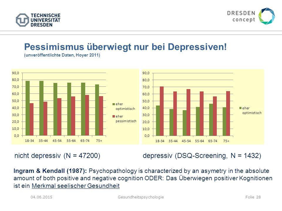 Pessimismus überwiegt nur bei Depressiven! (unveröffentlichte Daten, Hoyer 2011) 04.06.2015GesundheitspsychologieFolie 28 nicht depressiv (N = 47200)