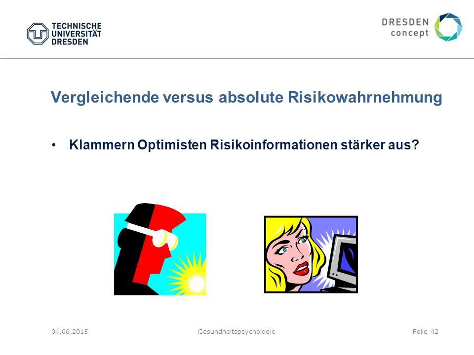 Vergleichende versus absolute Risikowahrnehmung 04.06.2015GesundheitspsychologieFolie 42 Klammern Optimisten Risikoinformationen stärker aus?