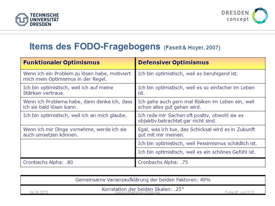 Items des FODO-Fragebogens (Faselt & Hoyer, 2007) Funktionaler OptimismusDefensiver Optimismus Wenn ich ein Problem zu lösen habe, motiviert mich mein