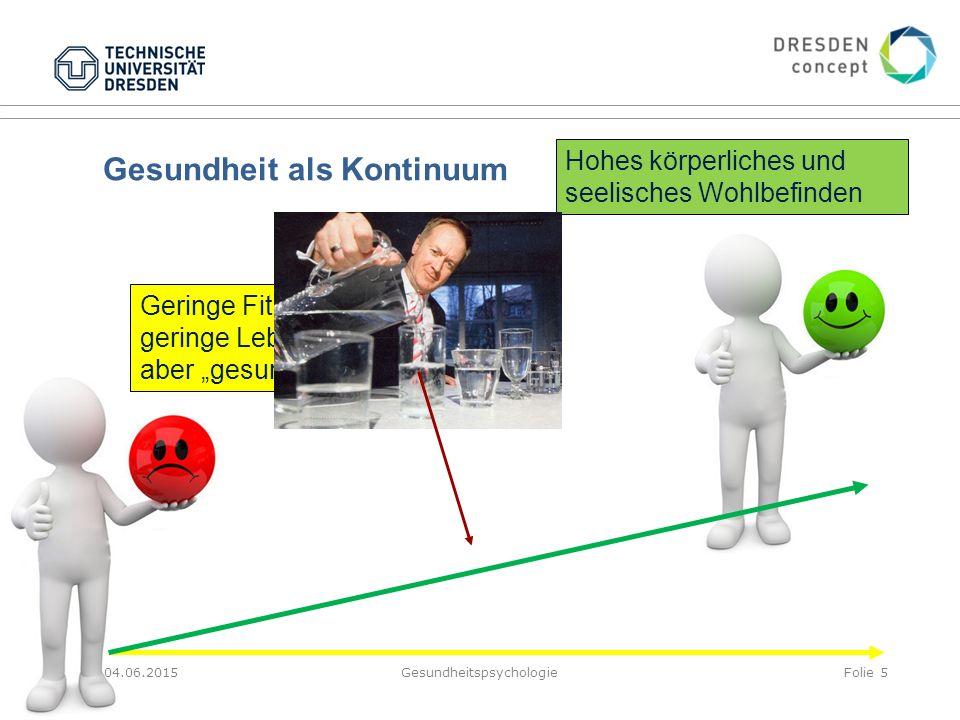 """Gesundheit als Kontinuum 04.06.2015GesundheitspsychologieFolie 5 Geringe Fitness, geringe Lebenszufriedenheit, aber """"gesund"""" Hohes körperliches und se"""