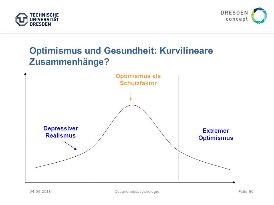 Optimismus und Gesundheit: Kurvilineare Zusammenhänge? 04.06.2015GesundheitspsychologieFolie 50 Depressiver Realismus Optimismus als Schutzfaktor Extr