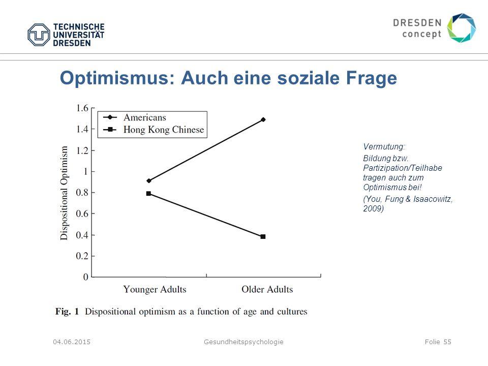 Optimismus: Auch eine soziale Frage Vermutung: Bildung bzw. Partizipation/Teilhabe tragen auch zum Optimismus bei! (You, Fung & Isaacowitz, 2009) 04.0