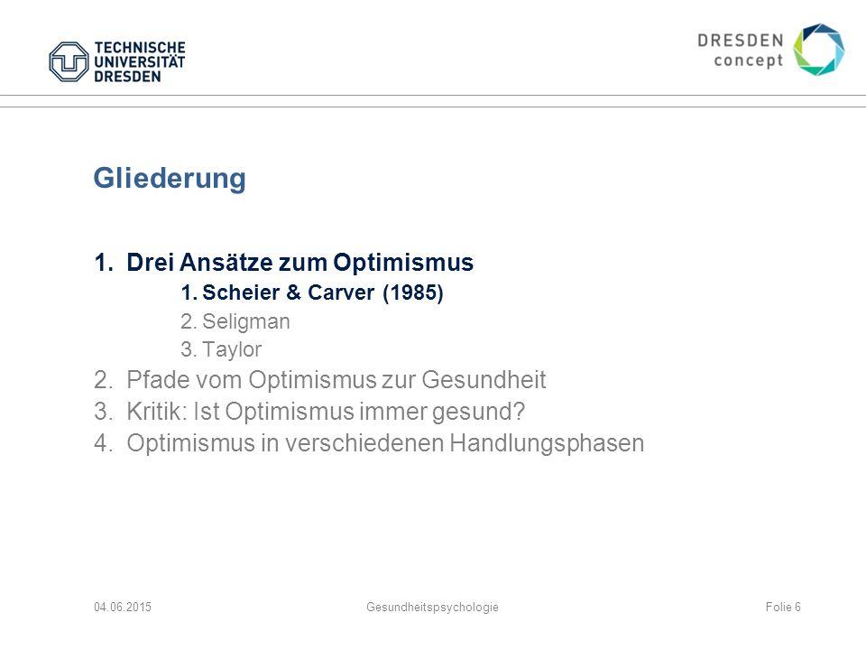 Gliederung 1.Drei Ansätze zum Optimismus 1.Scheier & Carver (1985) 2.Seligman 3.Taylor 2.Pfade vom Optimismus zur Gesundheit 3.Kritik: Ist Optimismus