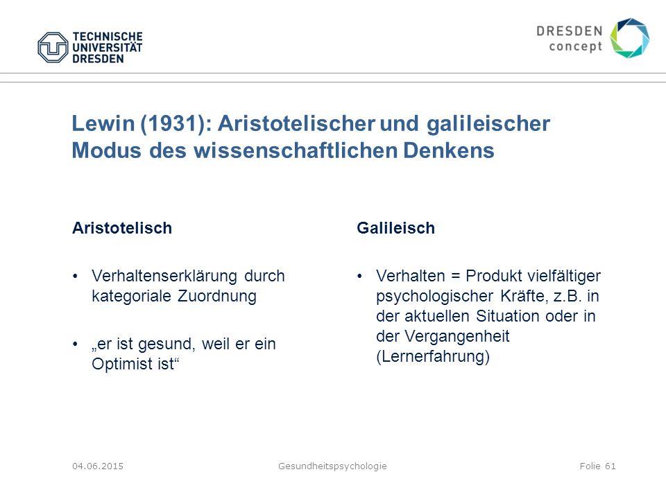 Lewin (1931): Aristotelischer und galileischer Modus des wissenschaftlichen Denkens 04.06.2015GesundheitspsychologieFolie 61 Aristotelisch Verhaltense
