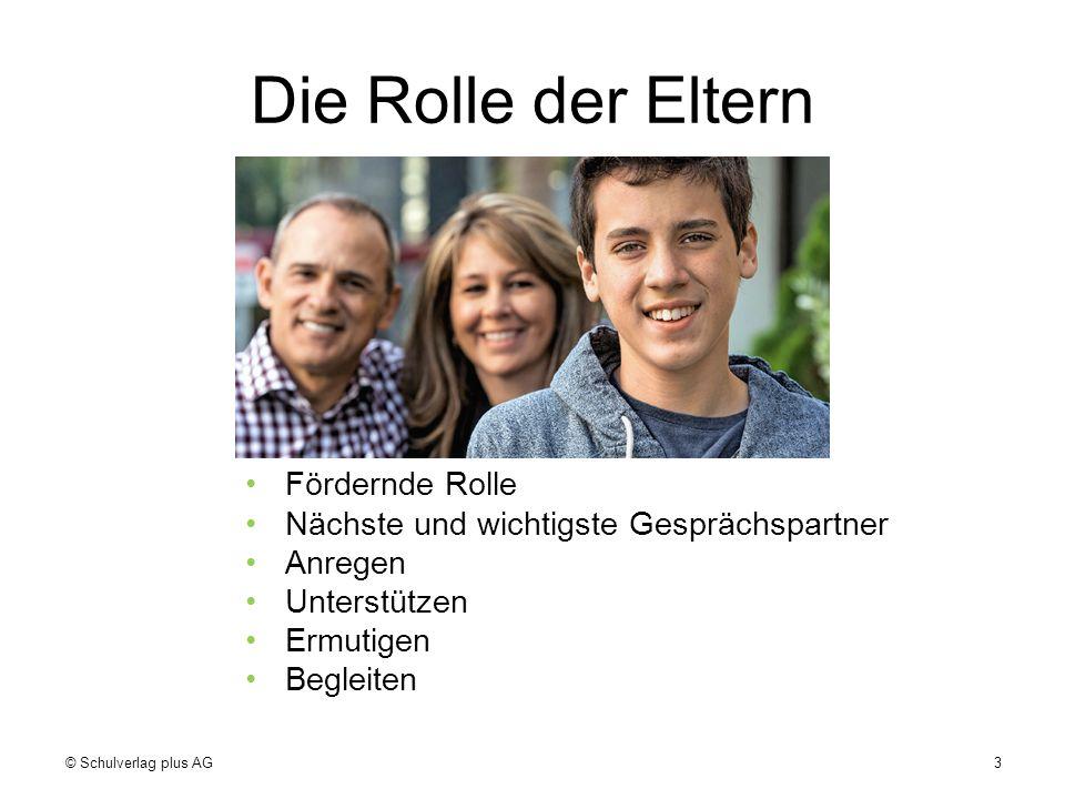 Die Rolle der Eltern Fördernde Rolle Nächste und wichtigste Gesprächspartner Anregen Unterstützen Ermutigen Begleiten © Schulverlag plus AG3
