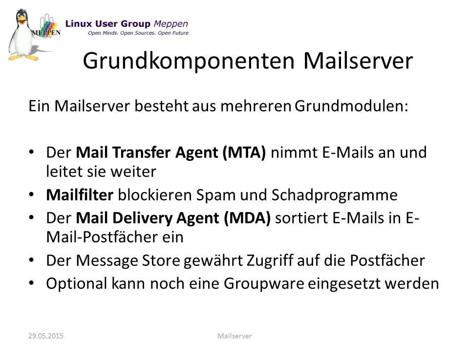 Grundkomponenten Mailserver Ein Mailserver besteht aus mehreren Grundmodulen: Der Mail Transfer Agent (MTA) nimmt E-Mails an und leitet sie weiter Mailfilter blockieren Spam und Schadprogramme Der Mail Delivery Agent (MDA) sortiert E-Mails in E- Mail-Postfächer ein Der Message Store gewährt Zugriff auf die Postfächer Optional kann noch eine Groupware eingesetzt werden 29.05.2015Mailserver