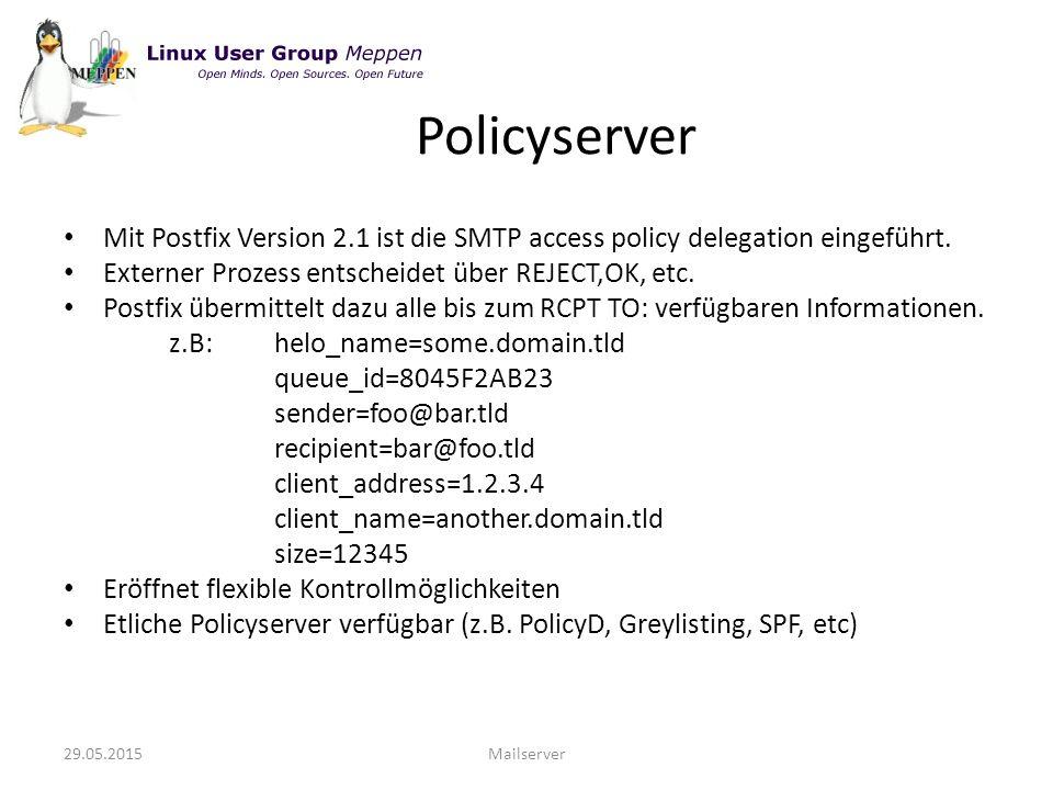 Mit Postfix Version 2.1 ist die SMTP access policy delegation eingeführt.