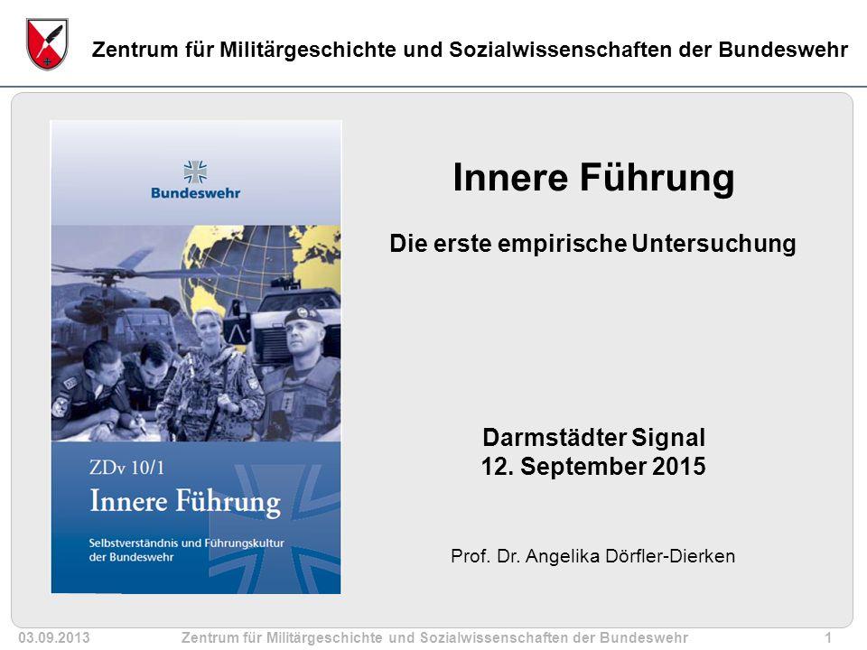03.09.2013Zentrum für Militärgeschichte und Sozialwissenschaften der Bundeswehr12 ZMS Bw Die weitaus größte Zahl der Soldatinnen und Soldaten hat eine positive Einstellung zur Inneren Führung.