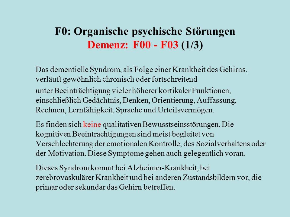 F0: Organische psychische Störungen Demenz: F00 - F03 (1/3) Das dementielle Syndrom, als Folge einer Krankheit des Gehirns, verläuft gewöhnlich chroni