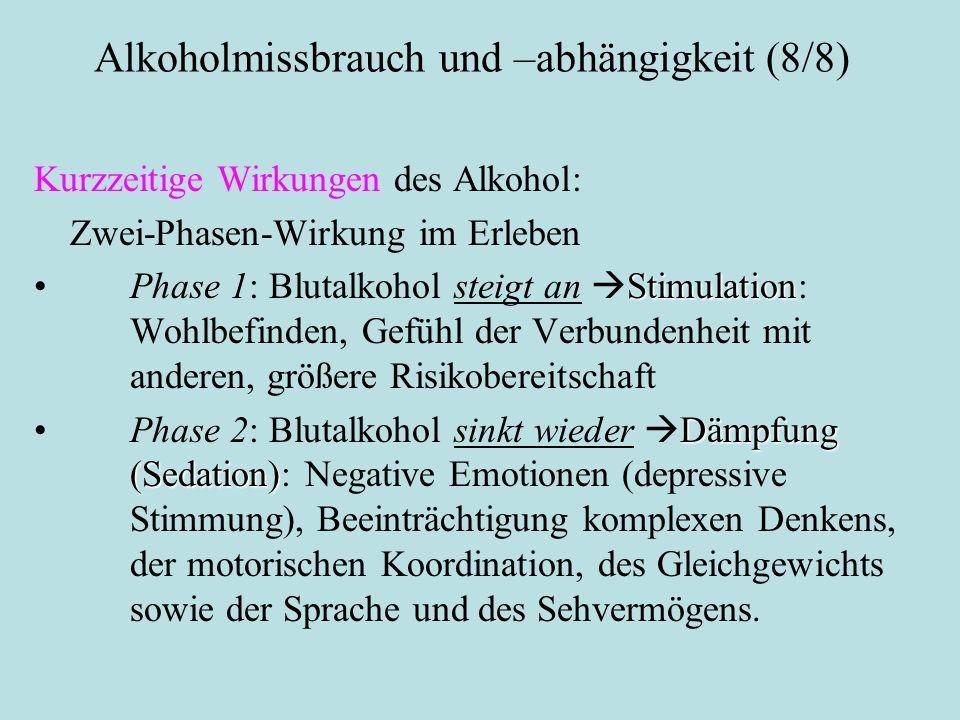 Alkoholmissbrauch und –abhängigkeit (8/8) Kurzzeitige Wirkungen des Alkohol: Zwei-Phasen-Wirkung im Erleben StimulationPhase 1: Blutalkohol steigt an